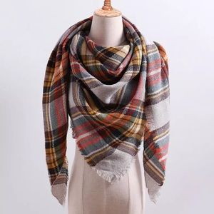 Orange Green Yellow Brown Plaid Triangle Scarf New
